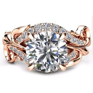 New Women ring white sapphire rose gold filled